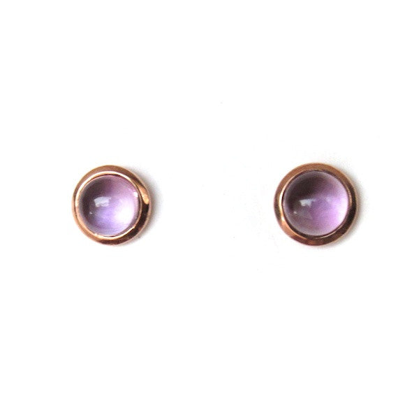 ToffeeTaffy Cabochon Rose Gold Amethyst Stud Earrings - Brownie Sparkles