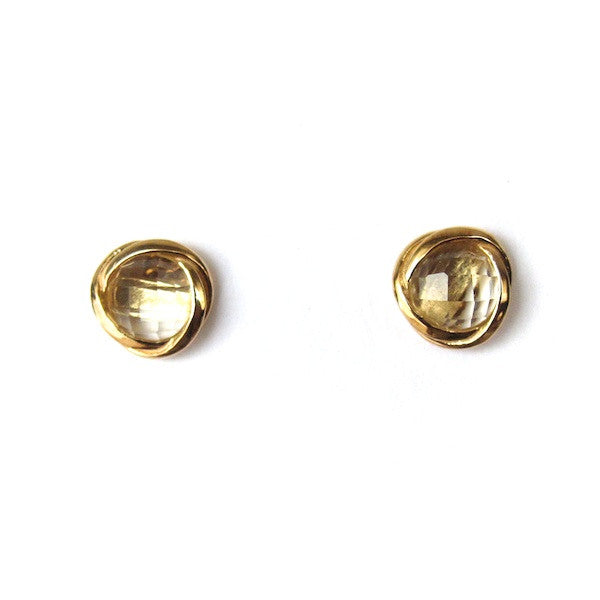 ToffeeTaffy Citrine Stud Earrings - Brownie Sparkles