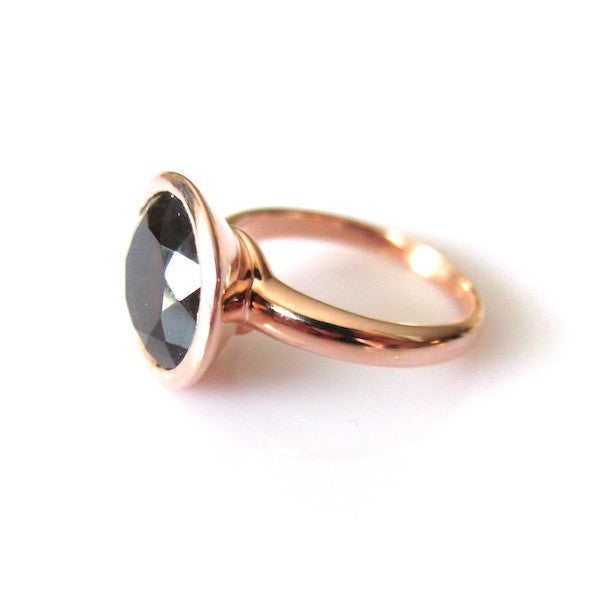 ToffeeTaffy Rose Gold Large Smoky Quartz Ring - Brownie Sparkles - 5