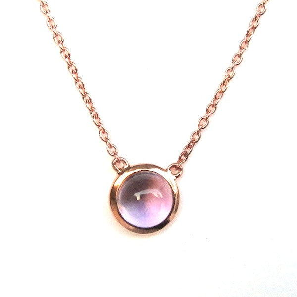 ToffeeTaffy Rose Gold Amethyst Coin Necklace - Brownie Sparkles