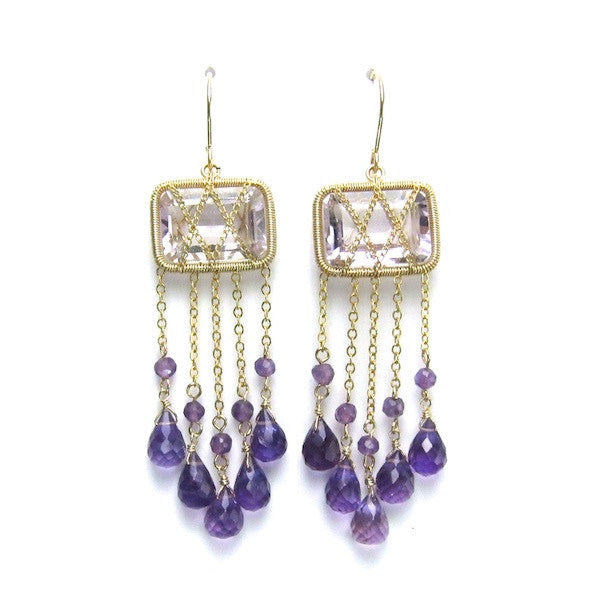 Leah Pink Amethyst and Purple Amethyst Drop Earrings - Brownie Sparkles