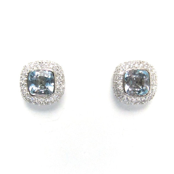 ToffeeTaffy Blue Topaz CZ Stud Earrings - Brownie Sparkles