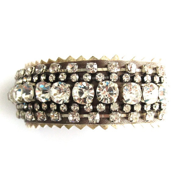 WinK Moccha Rhinestone Leather Bracelet - Brownie Sparkles - 1