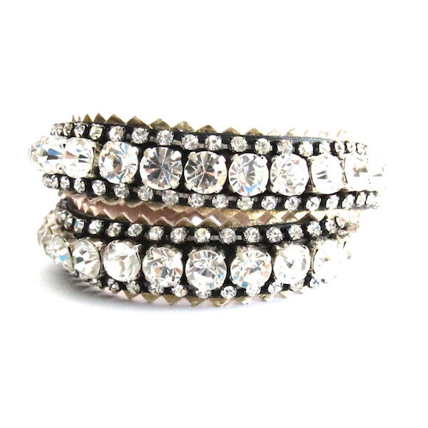 WinK Black Double Wrap Rhinestone Leather Bracelet - Brownie Sparkles - 1