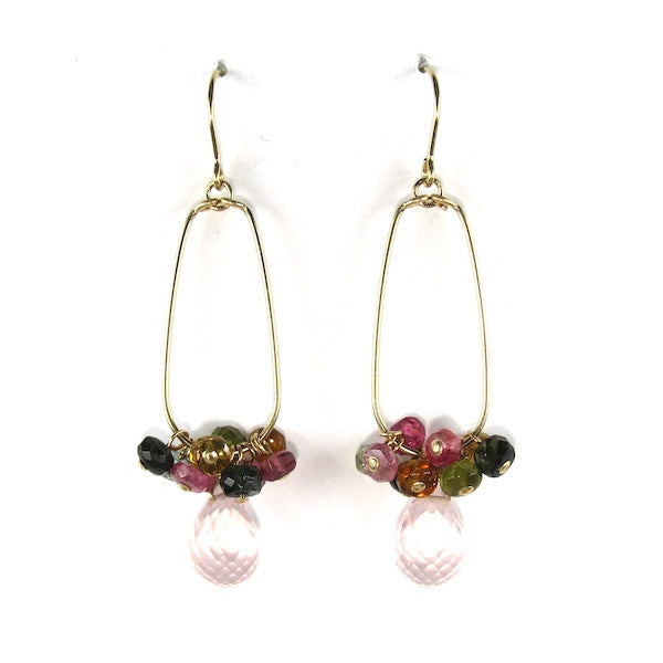 Leah Tourmaline & Rose Quartz Earrings - Brownie Sparkles