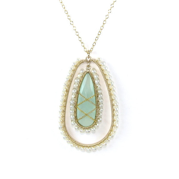 Leah Sea Green Chalcedonay and Freshwater Pearl Long Necklace - Brownie Sparkles - 2