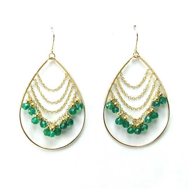 Leah Green Onyx Teardrop Hoop Earrings - Brownie Sparkles