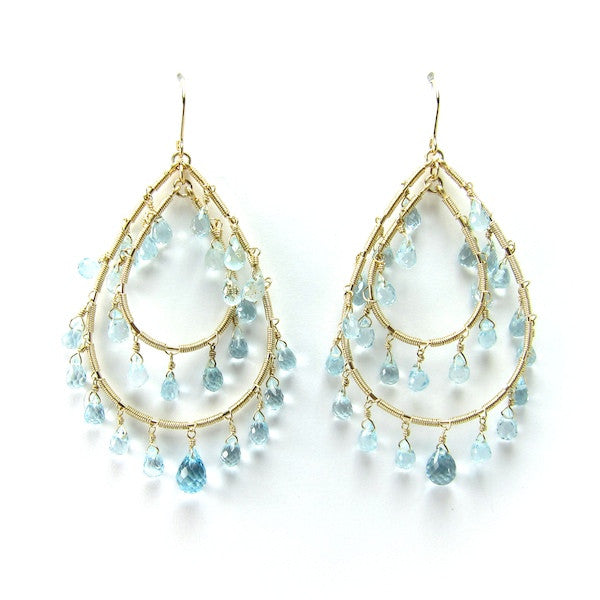 Leah Aquamarine Hoop Earrings - Brownie Sparkles
