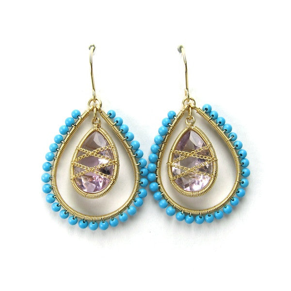 Leah Turquoise Amethyst Earrings - Brownie Sparkles