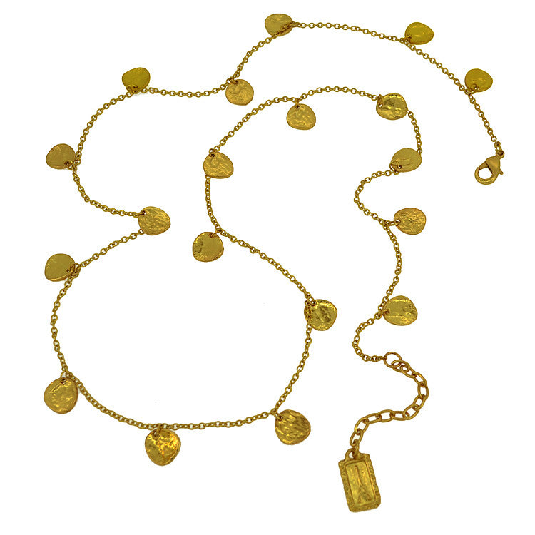 Karine Sultan Hammered Gold Disc Necklace - Brownie Sparkles