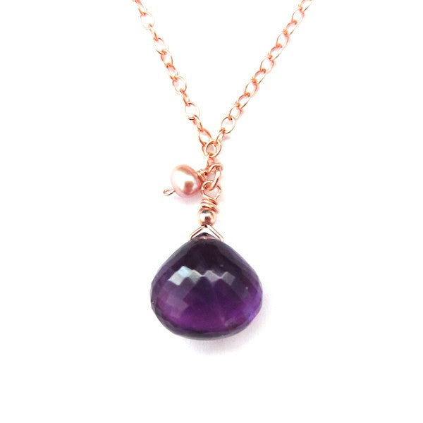 Rose Gold Purple Amethyst Drop Necklace - Brownie Sparkles - 1
