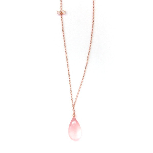 Rose Gold Rose Quartz Drop Necklace - Brownie Sparkles - 2