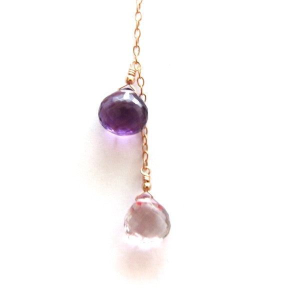 Rose Gold Amethyst 2 Drop Y Necklace - Brownie Sparkles