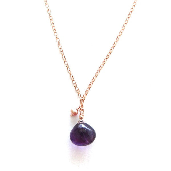 Rose Gold Purple Amethyst Drop Necklace - Brownie Sparkles - 2
