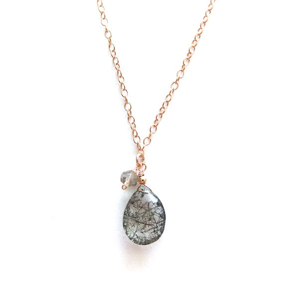 Rose Gold Rutilated Quartz Drop Necklace - Brownie Sparkles - 1