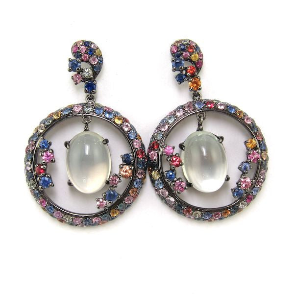 JuJu Multicolour Sapphire and Moonstone Earrings - Brownie Sparkles