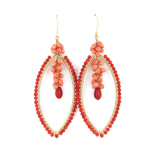 Leah Coral Marquise Earrings - Brownie Sparkles