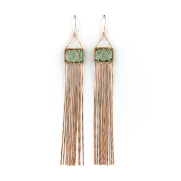 Leah Green Hydro Tassel Earrings - Brownie Sparkles