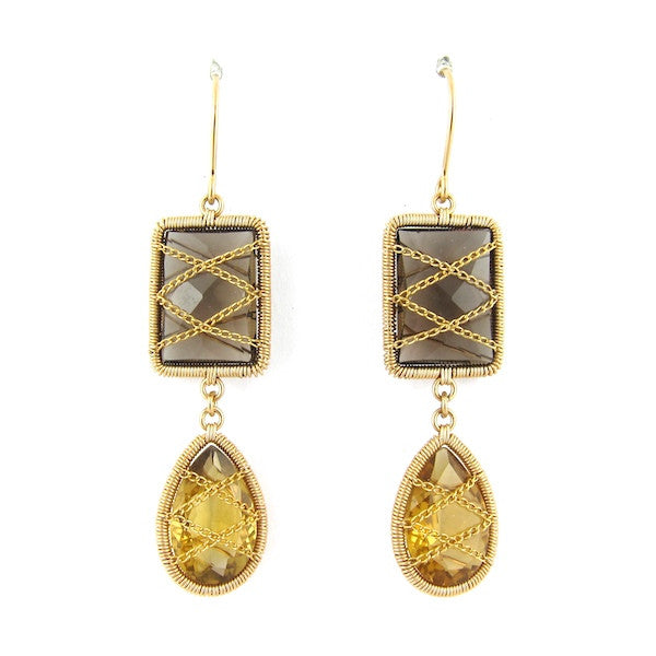 Leah Citrine, Smoky Quartz Earrings - Brownie Sparkles