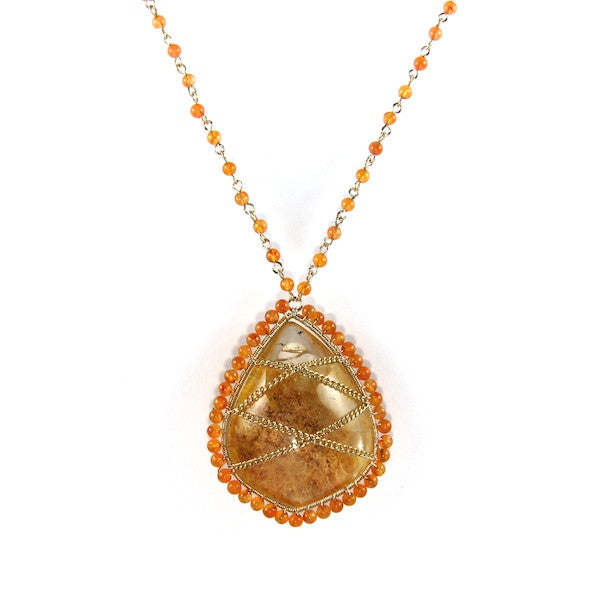 Leah Rutilite Carnelian Necklace - Brownie Sparkles