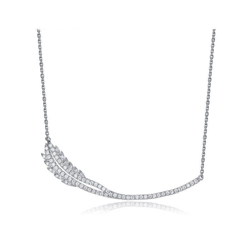 Feather necklace in white gold - Brownie Sparkles
