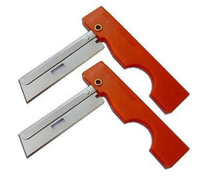 Blaze Orange Derma-Safe Folding Razors with stainless steel blades.