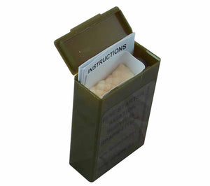 Each mil-spec American made SparkLite firestarter comes with instructions, TinderQuik tabs, and plastic storage container.