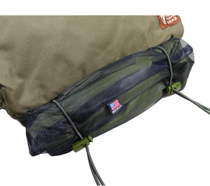 A 5col Ultralight Tarp secured to a Kit Bag with an Attachenator Kit.