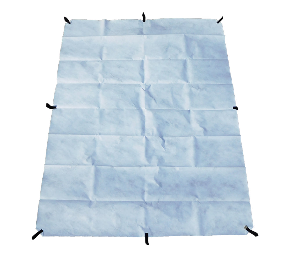 This tyvek ground cloth has 8 bartacked nylon loops for stakes or tie-outs.