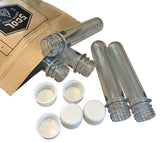 Cache Tubes from 5col Survival Supply are waterproof airtight storage containers made from soda bottle preforms with tamper-evident caps.