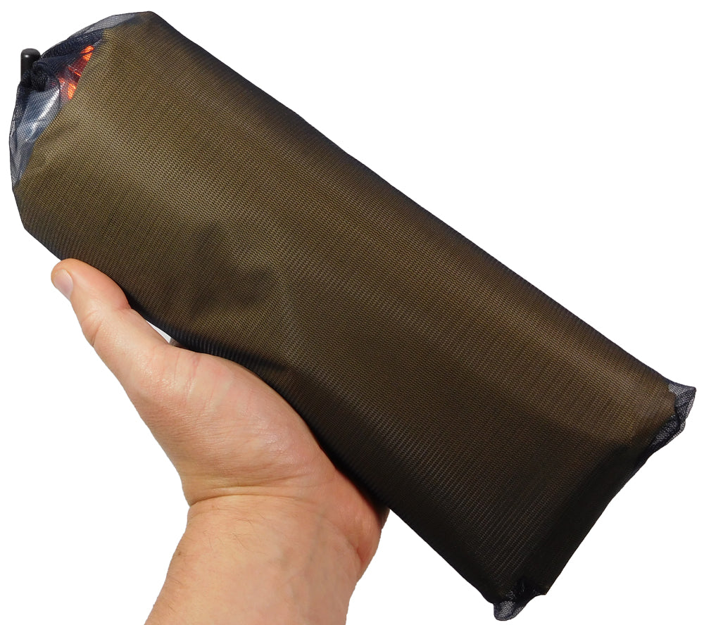 The compact ultralight tarp from 5col Survival Supply stows easily for practical carry