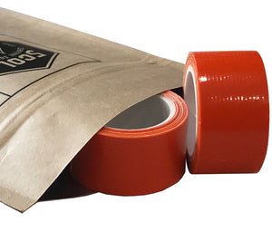 Orange miniature duct tape rolls with a 1 in. width and 100 in. length on a plastic core for fast, easy use.