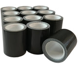 "American made 2""x100"" Mini Duct Tape Rolls are available in cases of 12 dark green rolls."