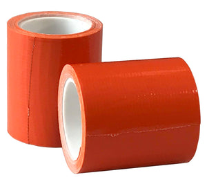 High visibility orange duct tape on compact 2 inch wide by 100 inch long rolls, designed for easy carry in your backpack, book bag, vehicle or kitchen drawer.