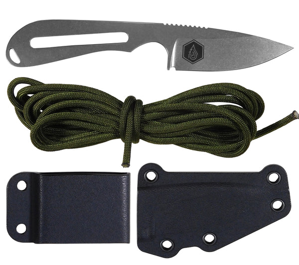 5col Backpacker Knife from White River Knife and Tool with sheath, belt clip plate, and 750 paracord
