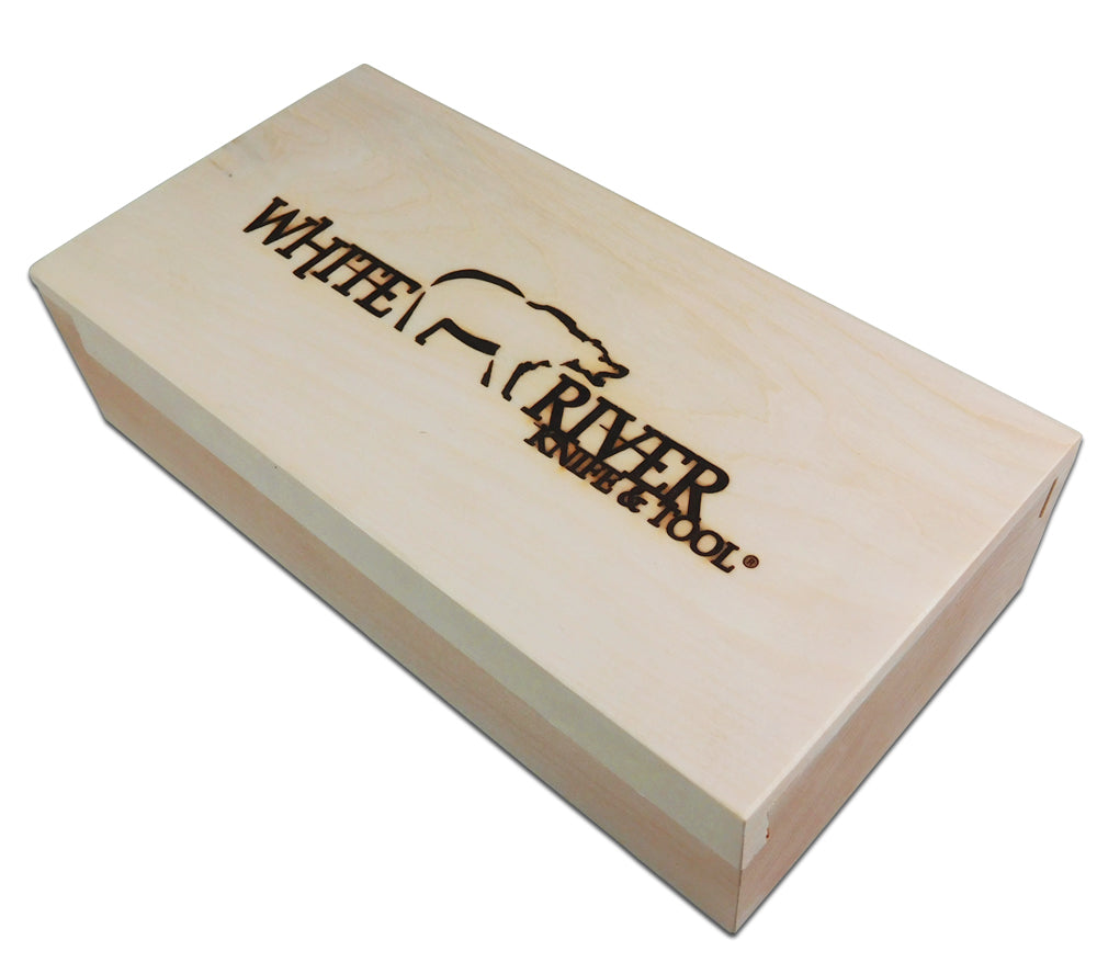 WRK's wood box is a beautiful way to present and store the 5col Backpacker Knife.