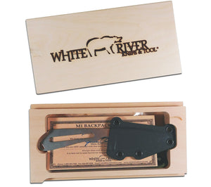 The 5col Backpacker Knife from WRK ships in a finely crafted wood box suitable for display.