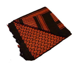 Red and Black cotton scarf (shemagh), 42 in. x 42 in.