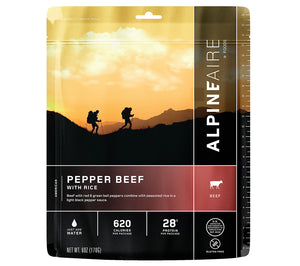 AlpineAire Foods Pepper Beef with Rice Freeze Dried meal.