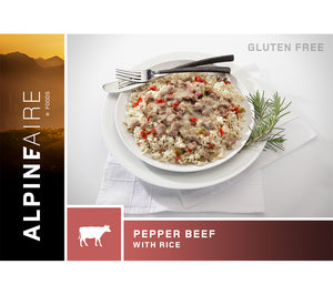 Pepper Beef with Rice is a high protein, easy prep meal for backpacking, search and rescue, wilderness and urban survival.