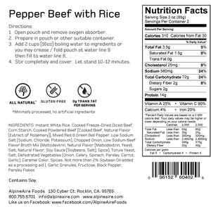 Pepper Beef with Rice - AlpineAire Foods Freeze-Dried Meal