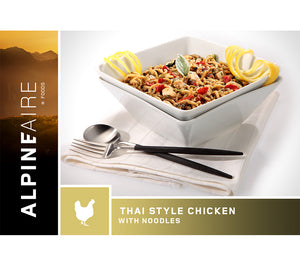 Thai Style Chicken with Noodles is an ultralight, easy-prep freeze dried meal ideal for camping, backpacking, search and rescue, and wilderness survival.