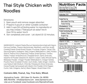 Thai Style Chicken with Noodles - AlpineAire Foods Freeze-Dried Meal