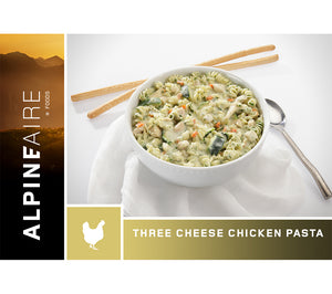 Three Cheese Chicken Pasta is a tasty freeze dried meal packed with protein and calories for camping, backpacking, wilderness and urban survival.