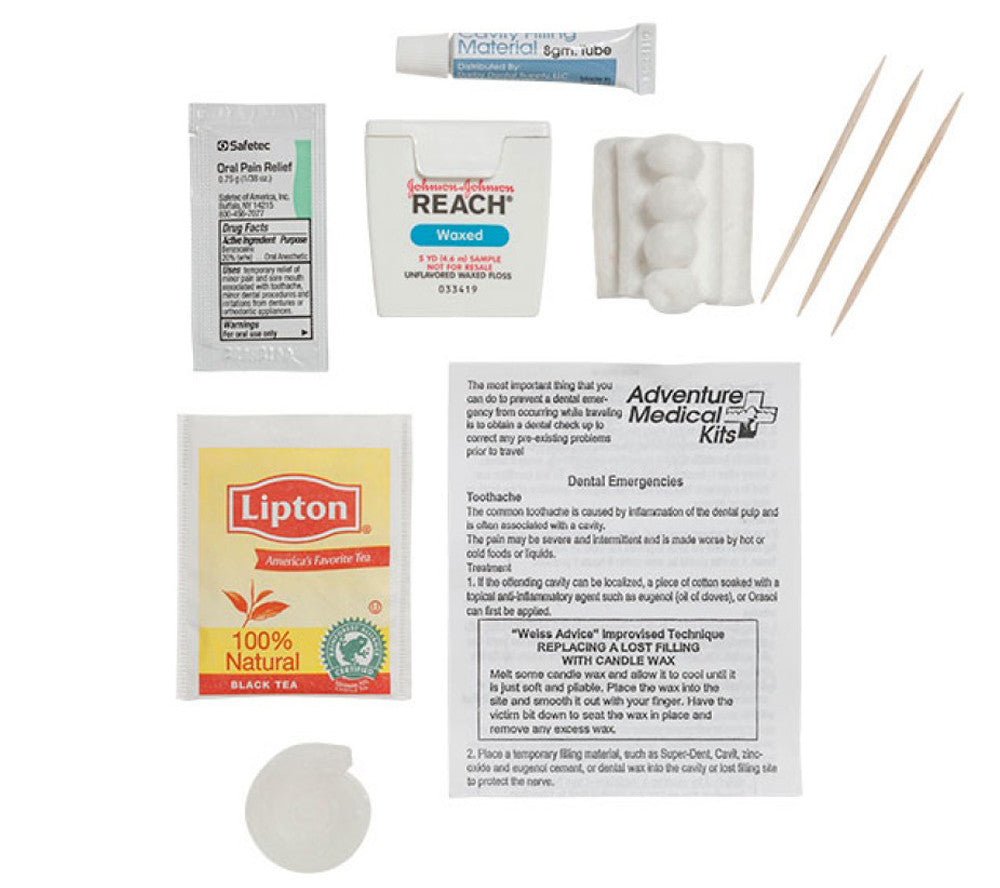 Contents of the Adventure Medical Kits Dental Medic kit.