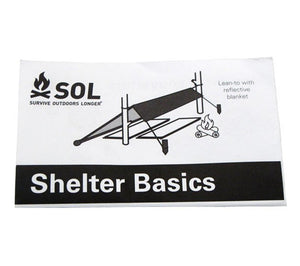 A small shelter construction manual is included with each SOL Emergency Shelter Kit from AMK.