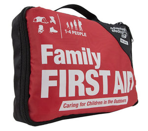 Family First Aid Kit from Adventure Medical Kits comes in a high visibility red nylon pouch with carry handle and zip closure.