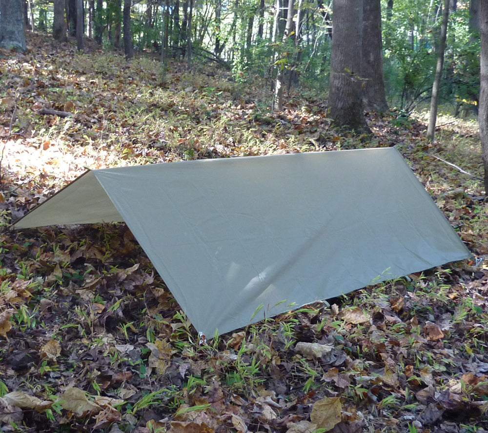 A-Frame style shelter constructed with 5x7 Ultralight Tarp from 5col Survival Supply & Ultralight Tarp 5 x 7 RipStop Nylon | 5col Survival Supply