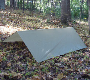 A-Frame style shelter constructed with 5x7 Ultralight Tarp from 5col Survival Supply