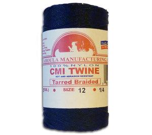 Tarred Braided #12 Bank Line, 1/4 lb. Spool, American-made twine for decoys, trot lines, jug lines, nets, seines, fishing, survival, and Bushcraft.